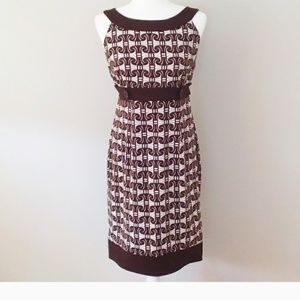 London Times Brown and White Shift Dress
